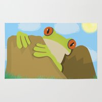frog Area & Throw Rugs featuring Frog by Nir P