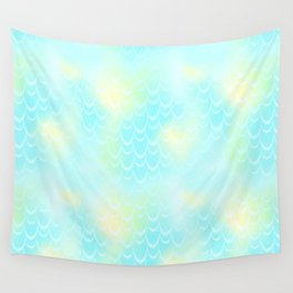 Mint Blue and Yellow Mermaid Tail Abstraction. Magic Fish Scale Pattern Wall Tapestry