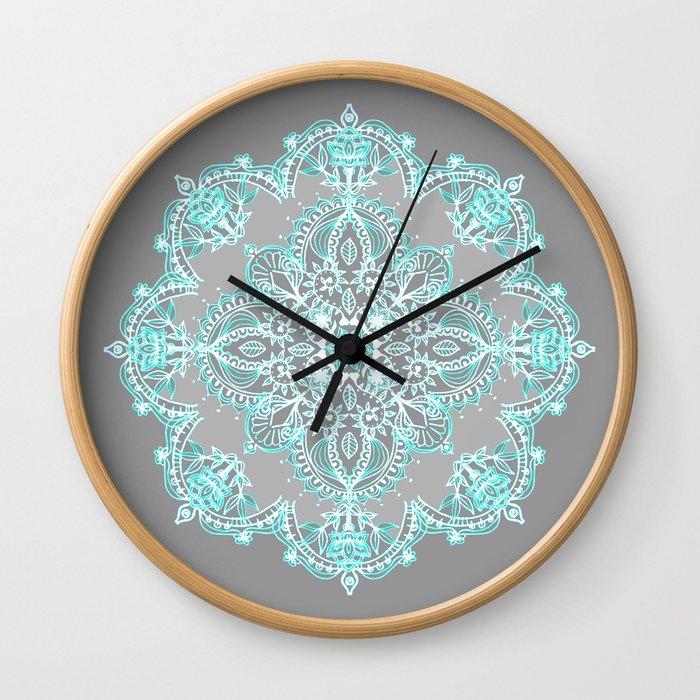 Teal and Aqua Lace Mandala on Grey Wall Clock