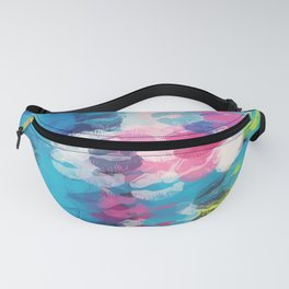pink blue yellow kisses lipstick abstract background Fanny Pack