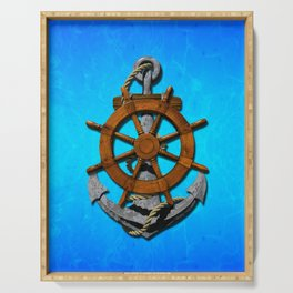 Nautical Ships Wheel And Anchor Serving Tray