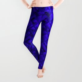 Volumetric design with interlaced circles and blue rectangles of stripes. Leggings