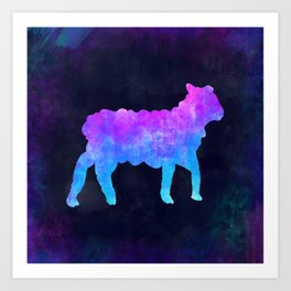 LAMB IN SPACE // Animal Graphic Art // Watercolor Canvas Painting // Modern Minimal Cute Art Print