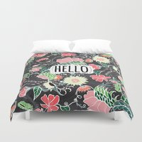 preppy Duvet Covers featuring Pastel preppy flowers Hello typography chalkboard by Girly Trend