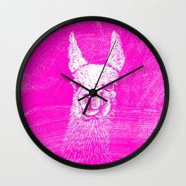 Funny Neon Pink Llama Animal Art Drawing Wall Clock