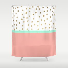 Coral teal color block faux gold foil polka dots pattern Shower Curtain