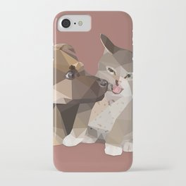 Low Poly German Shepard Puppy and Cat iPhone Case