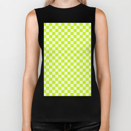 Small Checkered - White and Fluorescent Yellow Biker Tank