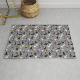 Silkie Bantams on Faux Silver Glitter Rug