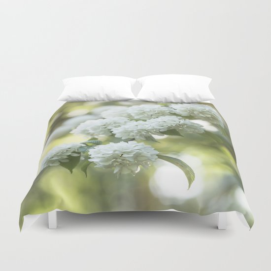 White Hydrangea at beautiful backlight- Flowers Floral Duvet Cover