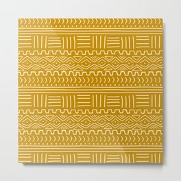 Mud Cloth on Mustard Metal Print