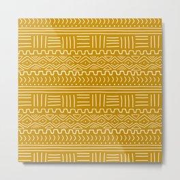 Mud Cloth on Mustard Metal Print