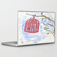 cage Laptop & iPad Skins featuring Bird + Cage by  Lèña