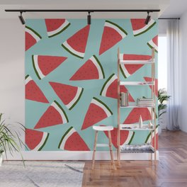 Trendy Watermelon Red and Mint Summer Design Wall Mural