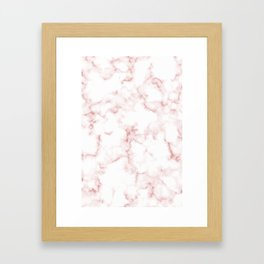 Pink Rose Gold Marble Natural Stone Gold Metallic Veining White Quartz Framed Art Print