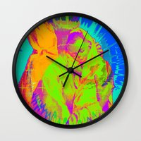mom Wall Clocks featuring Mom  by florenceK