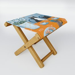 Cats and a French Press Folding Stool