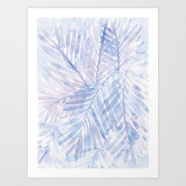 Muted Blue Palm Leaves 02 Art Print