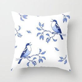 Blue Singing Birds Throw Pillow