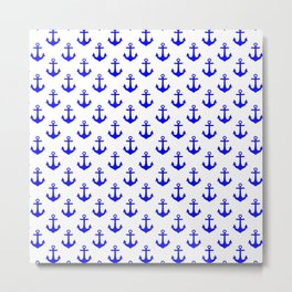 Anchors (Blue & White Pattern) Metal Print