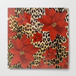 Animal Print Leopard and Red Poinsettia Metal Print