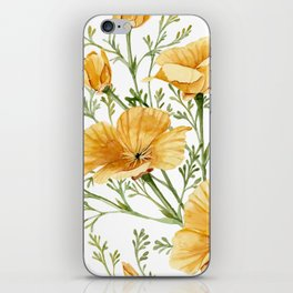 California Poppies - Watercolor Painting iPhone Skin