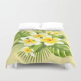Tropical Bouquet. Plumeria Duvet Cover
