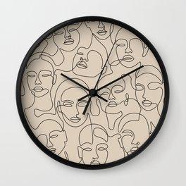 Crowded Girls In Beige Wall Clock