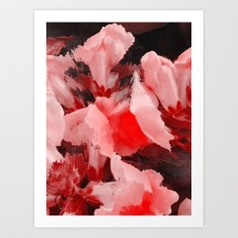 Red and Pink Snapdragons Floral Abstract Art Print