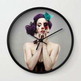 beautiful girl face tattoo Wall Clock