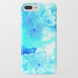 Modern blue sea hand painted watercolor iPhone Case