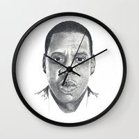 jay z Wall Clocks featuring Jay-Z by Stephanie Morris Illustration