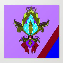 Fleur de lis with Maroon Ribbon and Bow Canvas Print