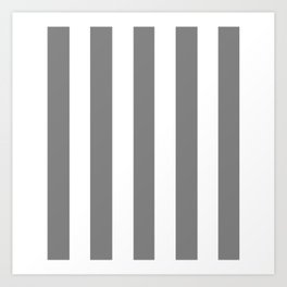 Gray (HTML/CSS gray) - solid color - white vertical lines pattern Art Print