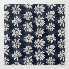 Black and Blue Flowers Canvas Print