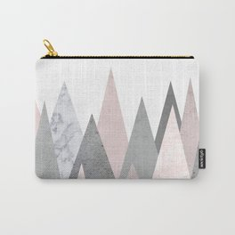 BLUSH MARBLE GRAY GEOMETRIC MOUNTAINS Carry-All Pouch