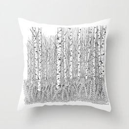 Birch Trees Black and White Illustration Throw Pillow