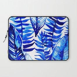 Jungle Leaves & Ferns in Blue Laptop Sleeve