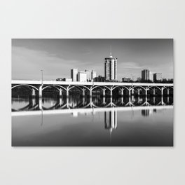 Tulsa Oklahoma Riverfront Skyline and the 21st Street Bridge - Black and White Canvas Print