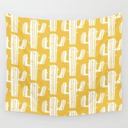 Mid Century Modern Desert Cactus Pattern 835 Yellow Wall Tapestry