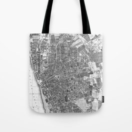 Vintage Map of Liverpool England (1890) BW Tote Bag