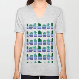 Potted succulent and cactus plant doodle pattern Unisex V-Neck