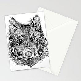floral animals -black and white wolf Stationery Cards