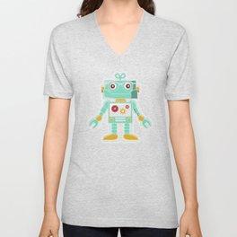 Cute Vintage Retro Robot Unisex V-Neck