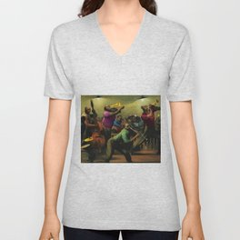 'Jazz on a High Night' African American Harlem Masterpiece by Robert Riggs Unisex V-Neck