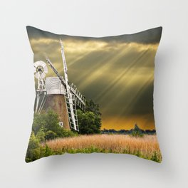 windmill with sunbeams Throw Pillow