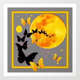 Butterfly Moon in Charcoal Grey Color Art Abstract Art Print