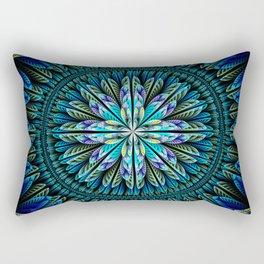 Blue fantasy flower and petals Rectangular Pillow