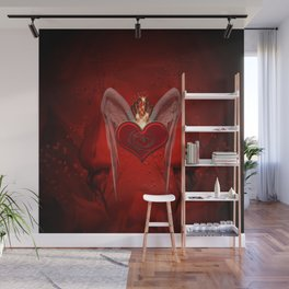 Wonderful heart with wings and dragon Wall Mural