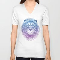 lion V-neck T-shirts featuring Face of a Lion by Rachel Caldwell
